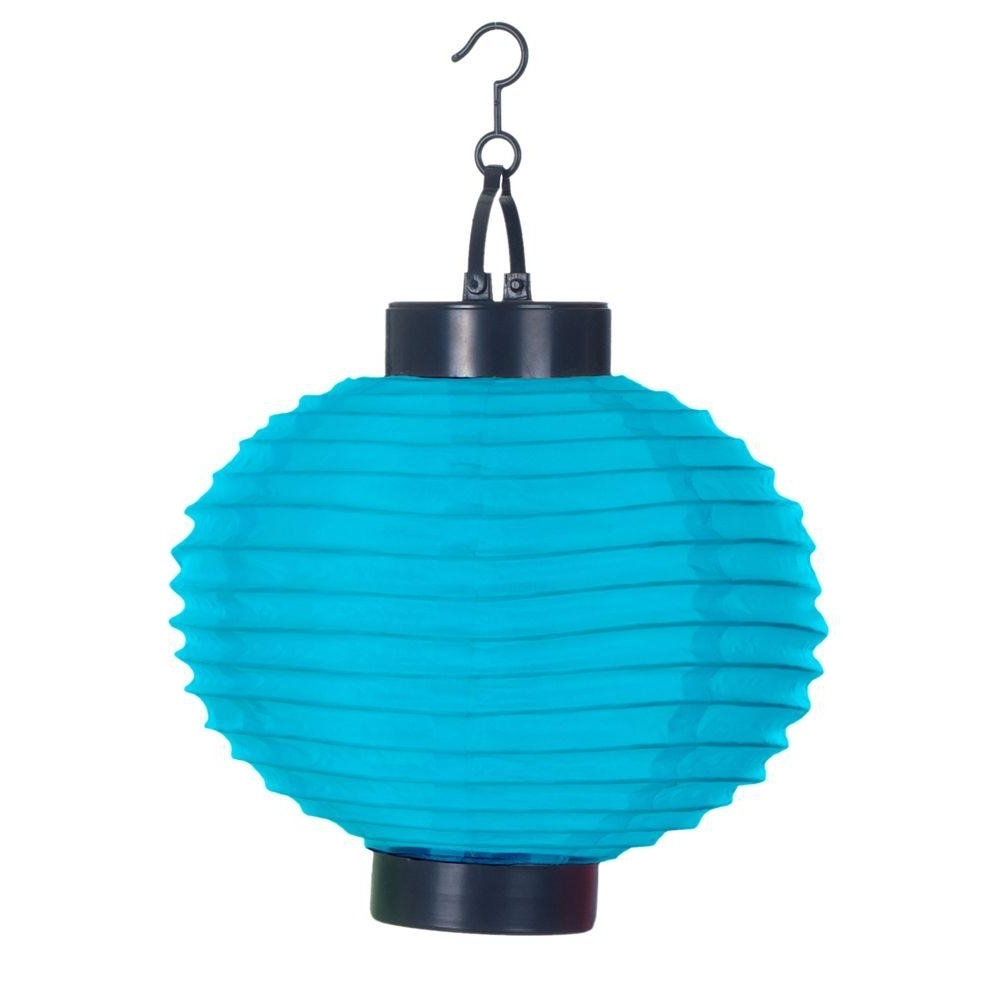 Pure Garden 4 Light Blue Outdoor Led Solar Chinese Lantern 50 19 B Throughout Best And Newest Blue Outdoor Lanterns (Gallery 3 of 20)