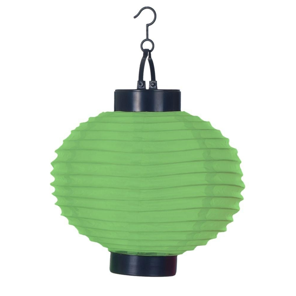 Pure Garden 4 Light Green Outdoor Led Solar Chinese Lantern 50 19 G With Well Known Outdoor Hanging Japanese Lanterns (Gallery 7 of 20)