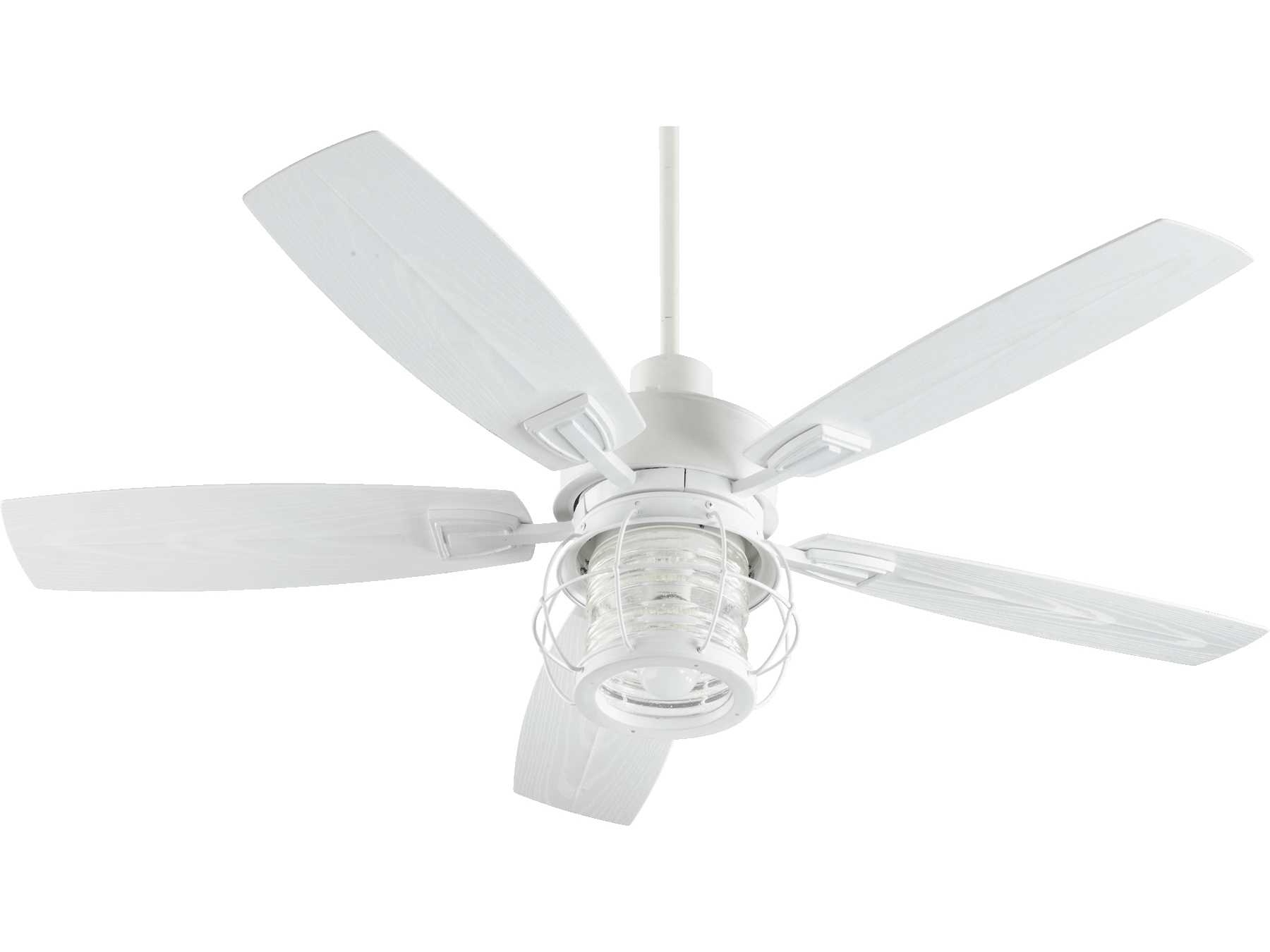 Quorum International Galveston Studio White 52 Inch Outdoor Ceiling Intended For Most Recent Quorum Outdoor Ceiling Fans (Gallery 15 of 20)