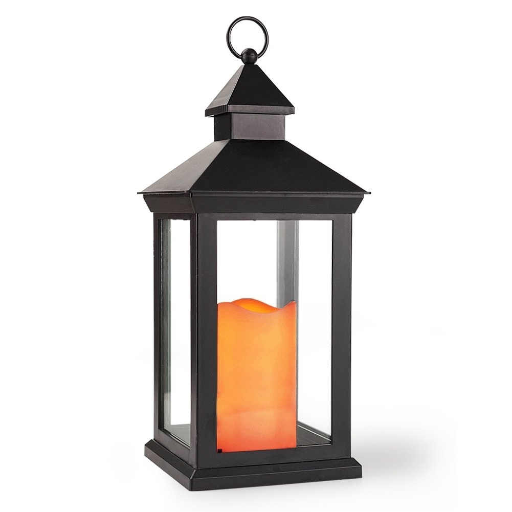 "Recent Bright Zeal 14"" Tall Vintage Decorative Lantern With Led Flickering Within Outdoor Timer Lanterns (Gallery 12 of 20)"
