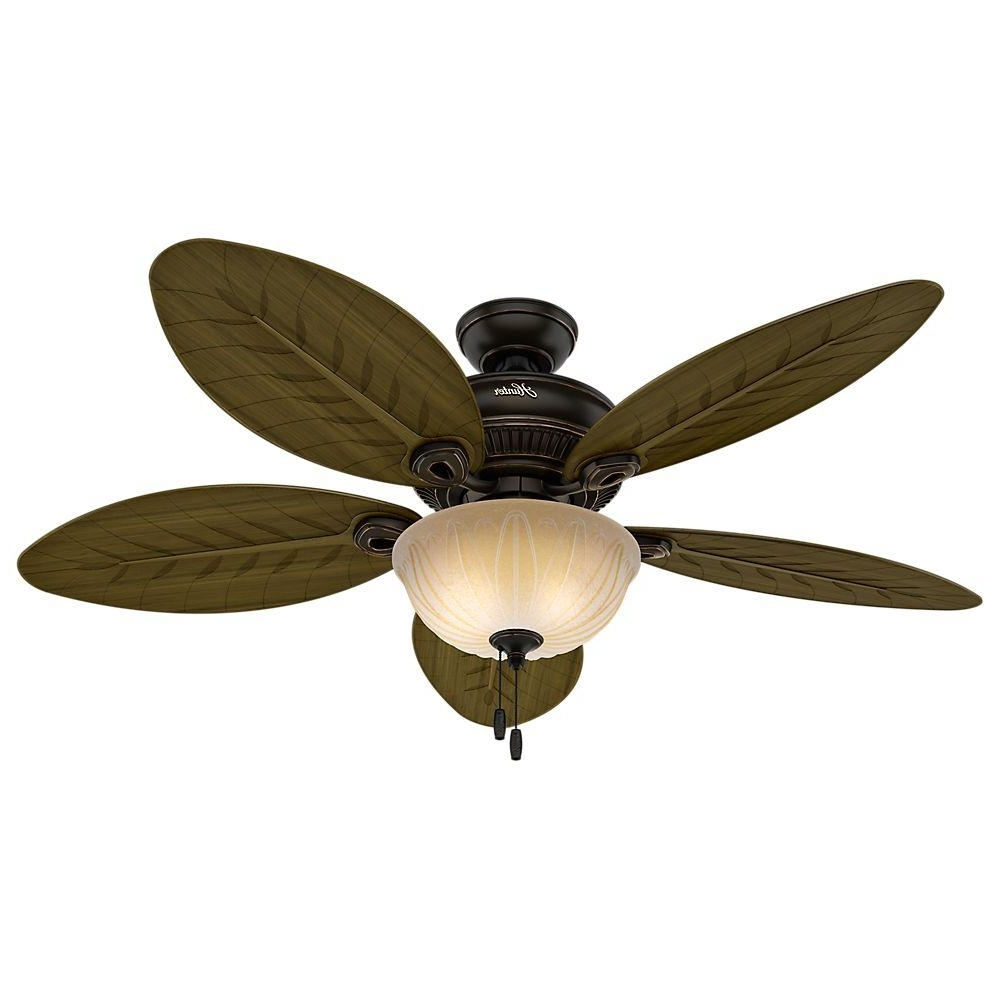 Recent Hunter Grand Cayman 54 In. Indoor/outdoor Onyx Bengal Bronze Ceiling Intended For Outdoor Ceiling Fans At Home Depot (Gallery 7 of 20)