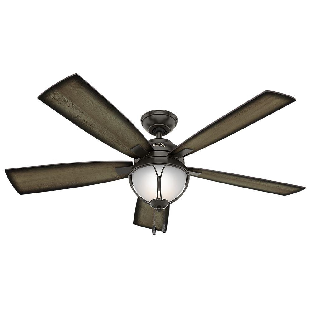 Recent Hunter Outdoor Ceiling Fans With Lights And Remote Intended For Hunter Sun Vista 54 In. Led Indoor/outdoor Noble Bronze Ceiling Fan (Gallery 3 of 20)