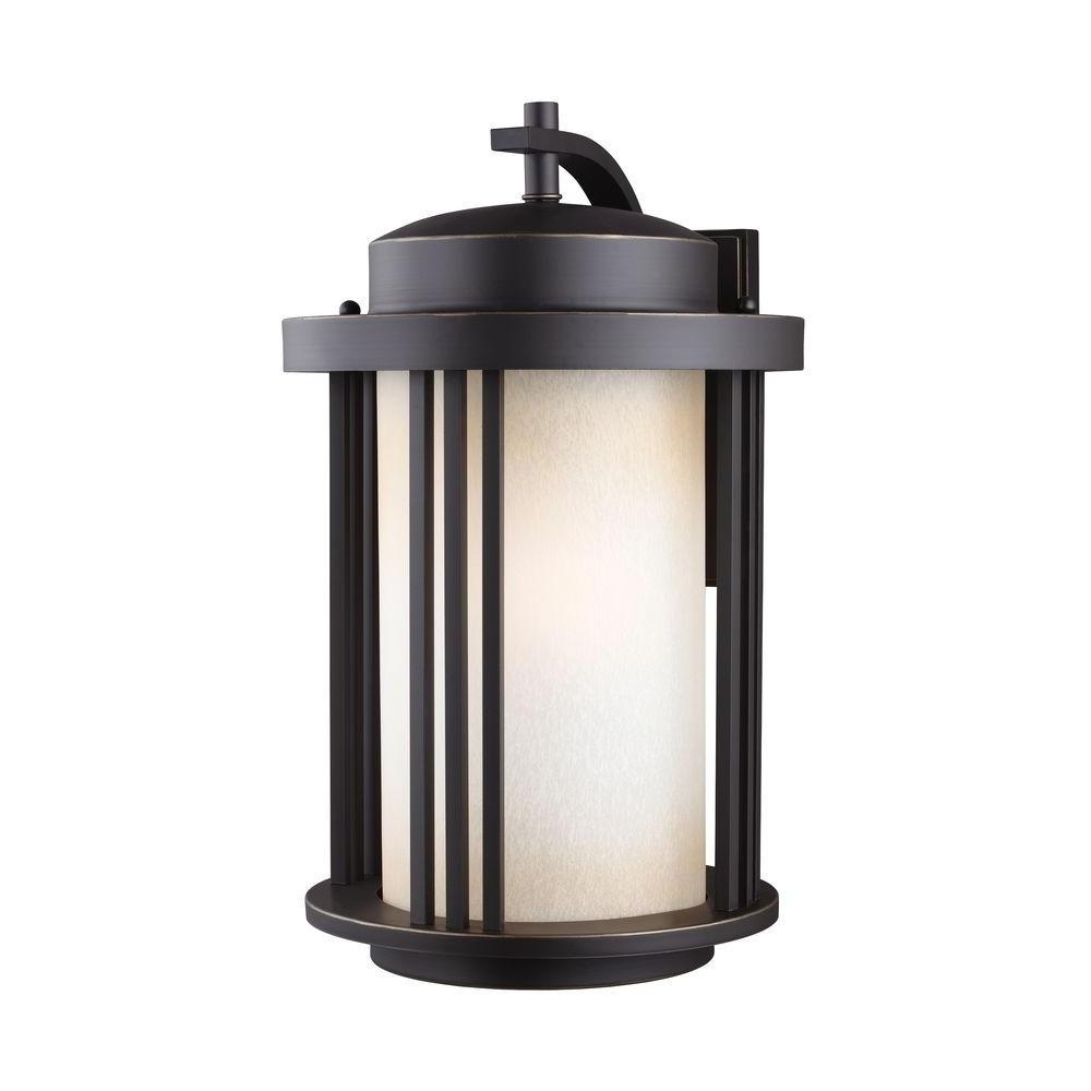 Recent Large Outdoor Lanterns Regarding Sea Gull Lighting Crowell 1 Light Large Antique Bronze Wall Lantern (Gallery 14 of 20)