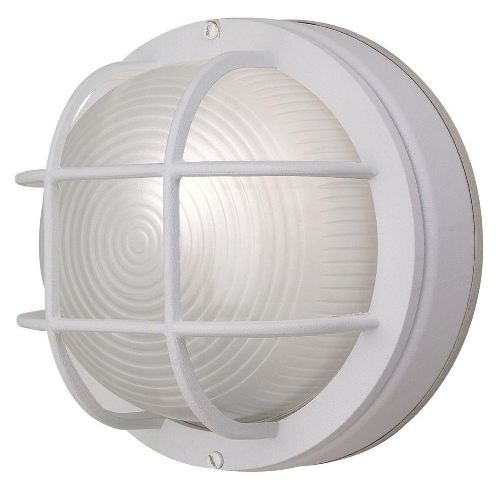Recent Outdoor Round Lanterns Throughout Hampton Bay 1 Light White Outdoor Round Wall Bulkhead Light Hb8824P (View 14 of 20)