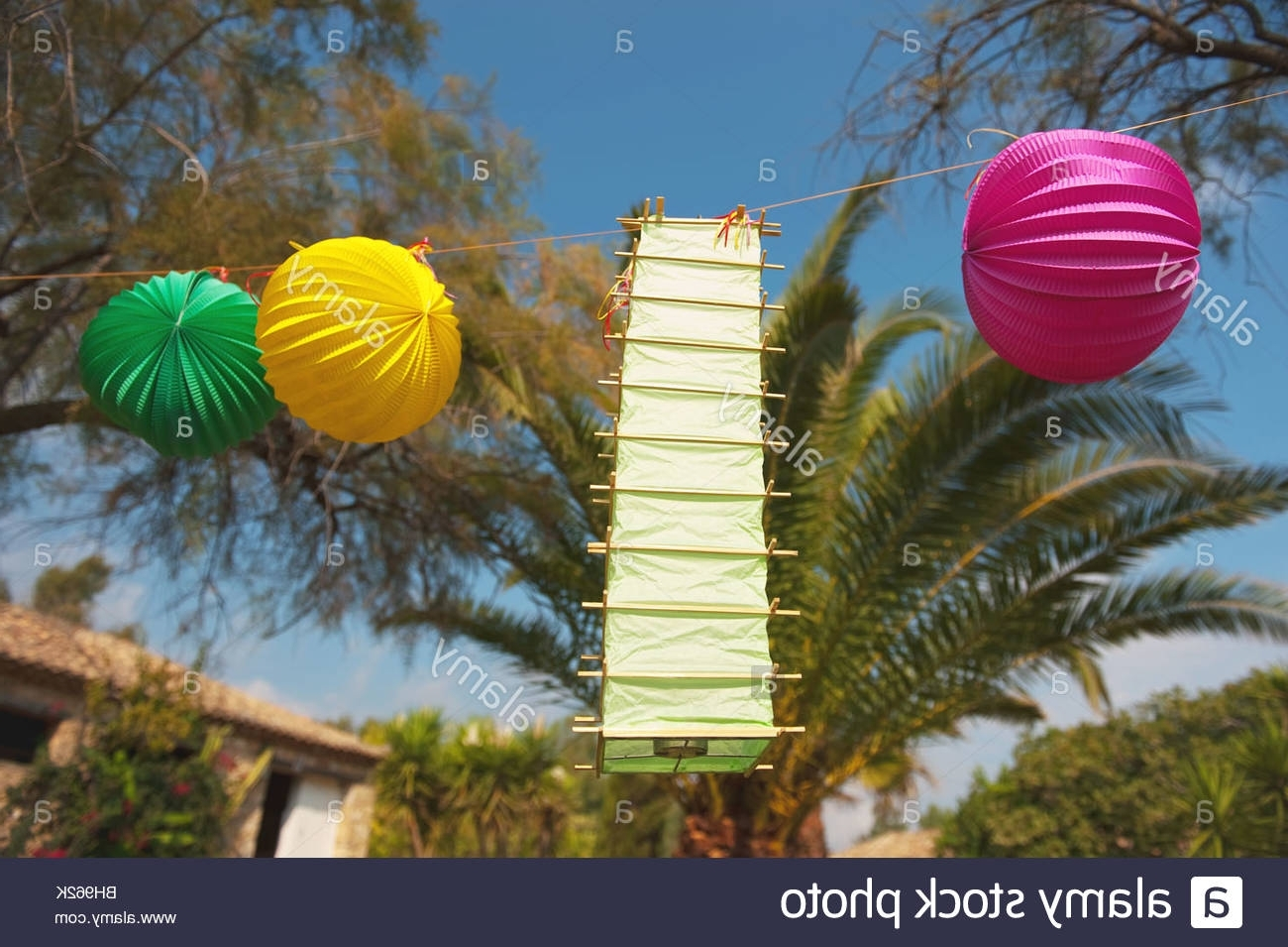 Recent Tropical Party Outdoor In The Garden With Chinese Lanterns Stock Regarding Outdoor Tropical Lanterns (View 17 of 20)