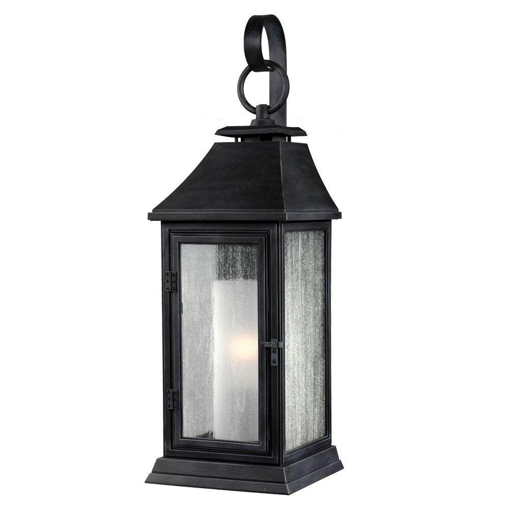 Recent Zinc Outdoor Lanterns Regarding Feiss Shepherd 1 Light Dark Weathered Zinc Outdoor Wall Fixture (Gallery 3 of 20)