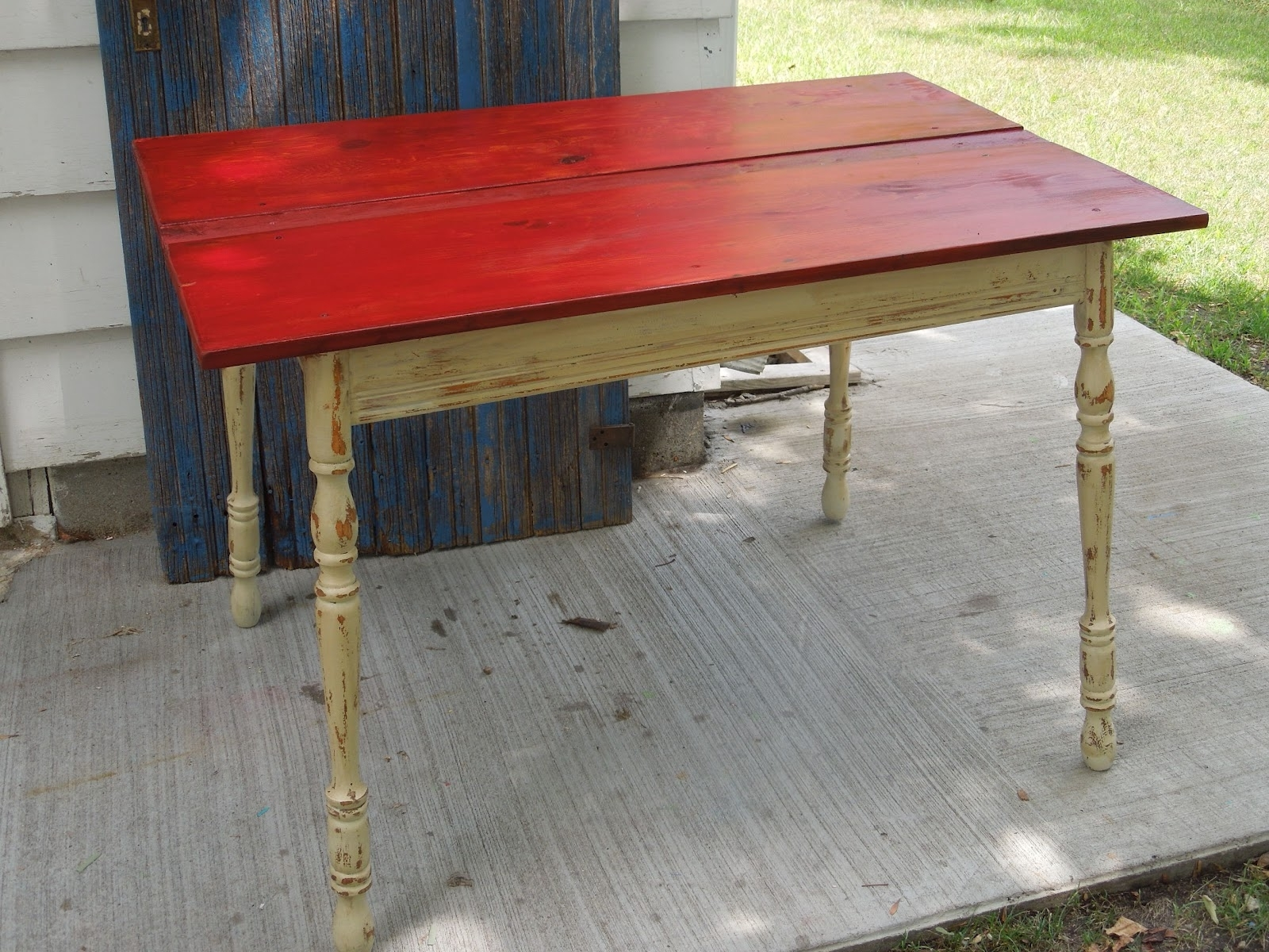 Red Outdoor Table Lanterns Inside Well Known Tattered Lantern: Red Top Kitchen Table $60.00 Sold (Gallery 20 of 20)