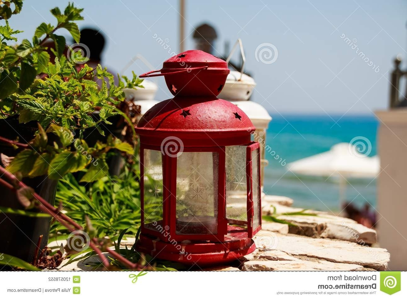 Red Outdoor Table Lanterns Regarding Preferred Red Small Lantern As Decoration At A Seacoast Restaurant (View 15 of 20)