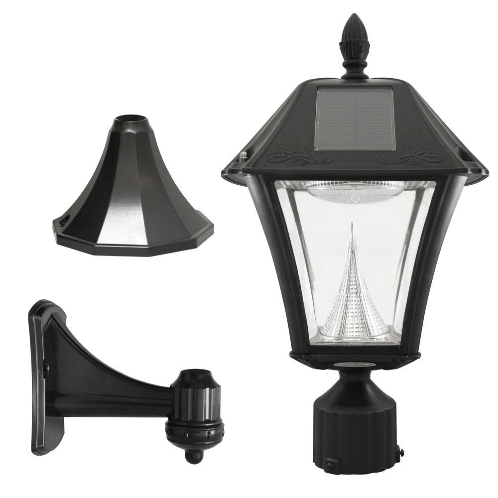 Resin Outdoor Lanterns Within Well Known Gama Sonic Baytown Ii Outdoor Black Resin Solar Post/wall Light With (View 16 of 20)