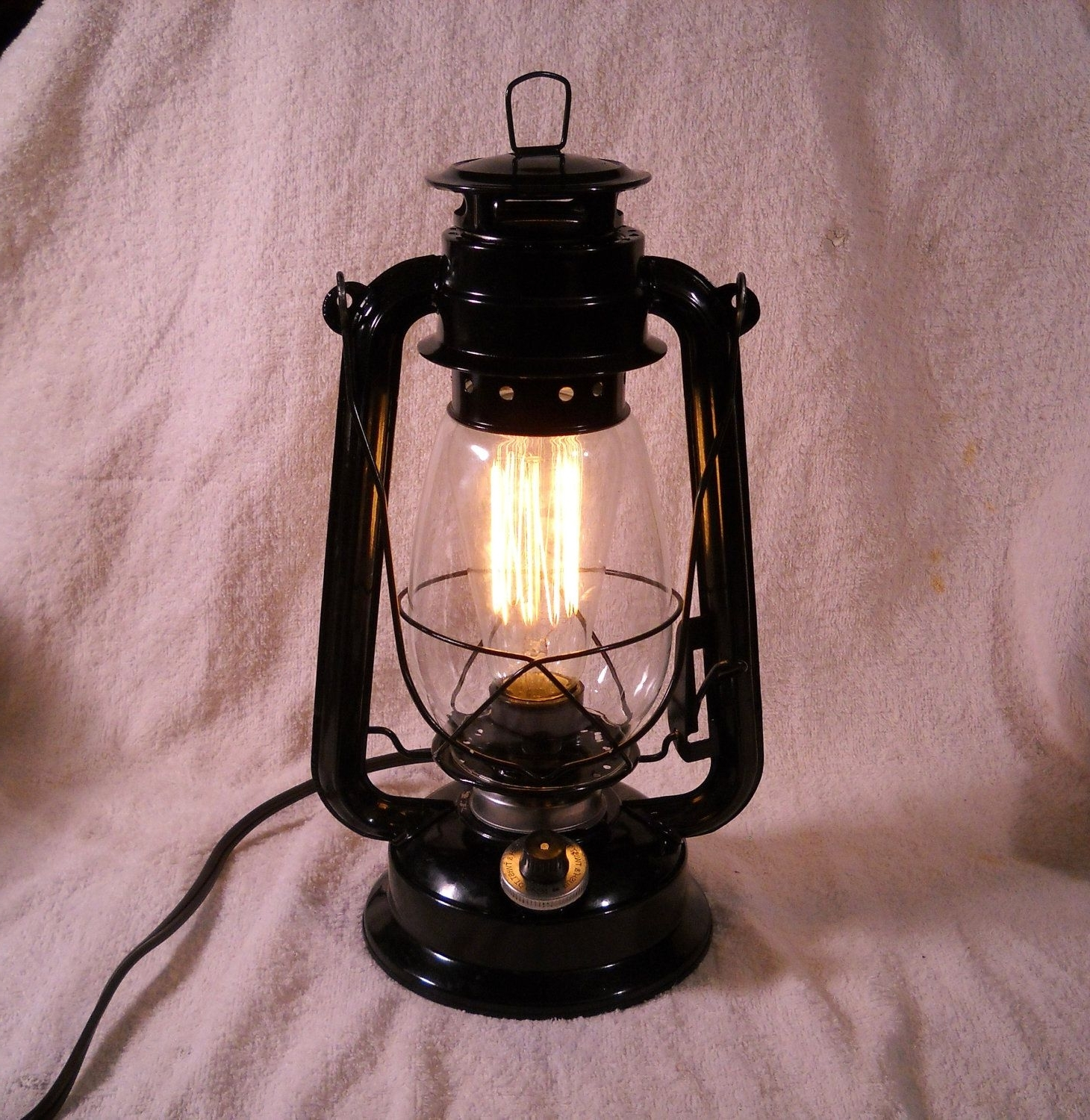 Rustic Outdoor Electric Lanterns In Favorite Black Electric Lantern Industrial Table Lamp Hanging Lighting With (View 13 of 20)
