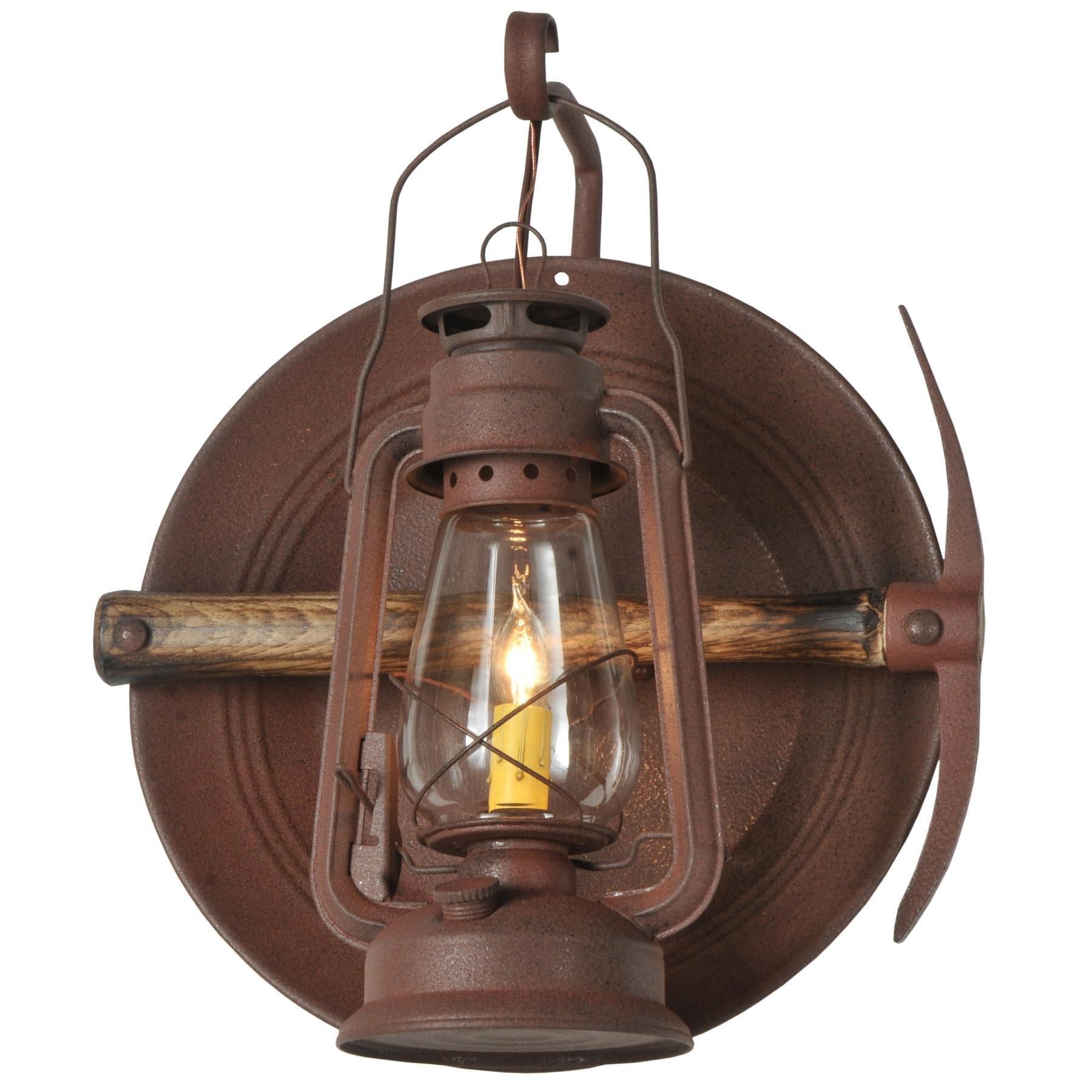 Rustic Outdoor Electric Lanterns Regarding Favorite Meyda 114829 Miners Lantern Wall Sconce (View 5 of 20)