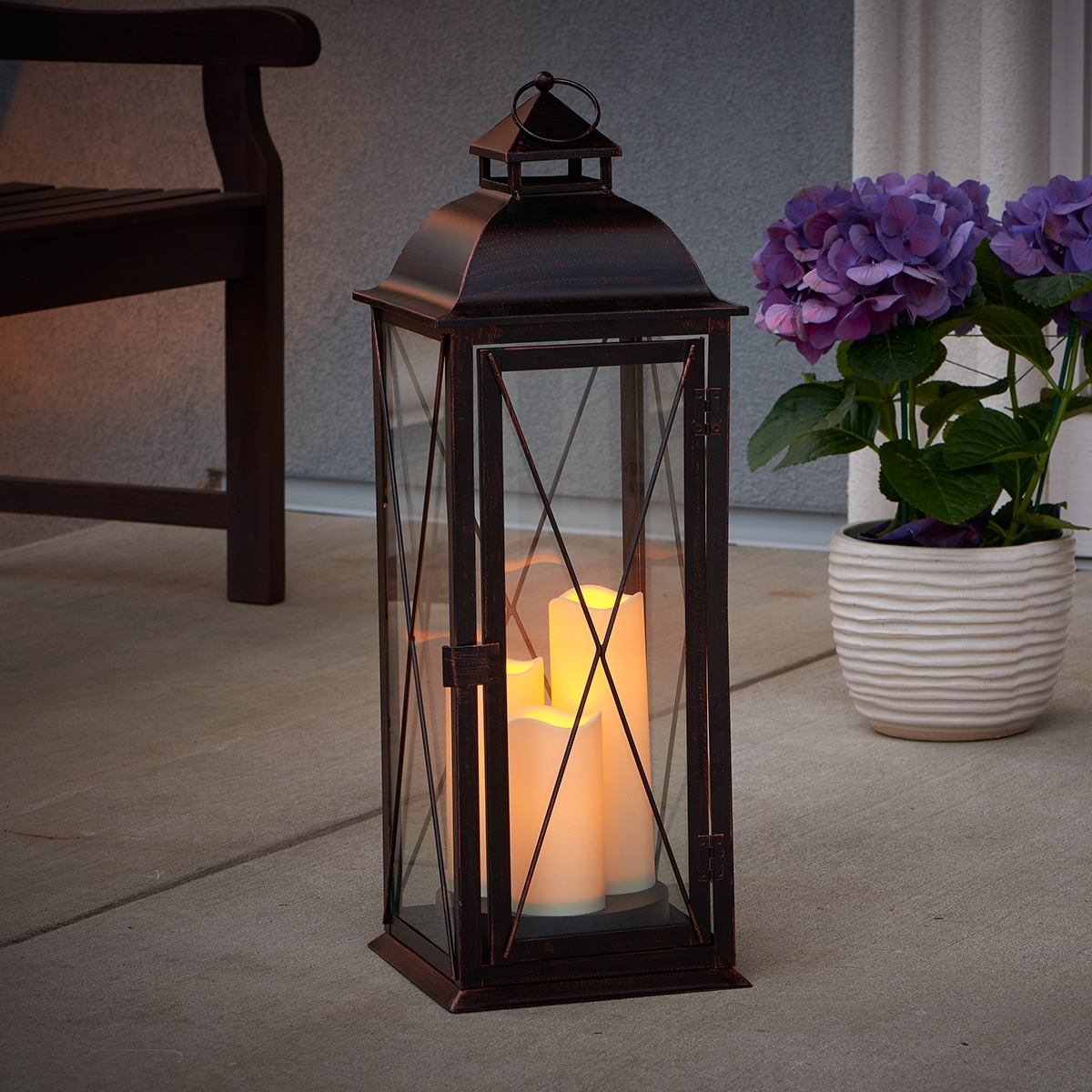 Salerno Triple Led Candle Lantern (Gallery 3 of 20)