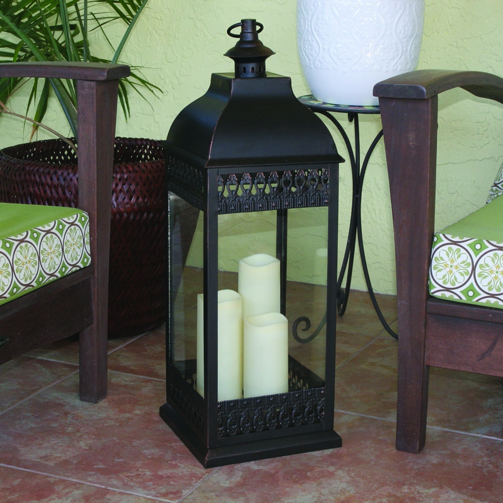 San Nicola Triple Led Candle Lantern Pertaining To Famous Outdoor Oversized Lanterns (View 2 of 20)