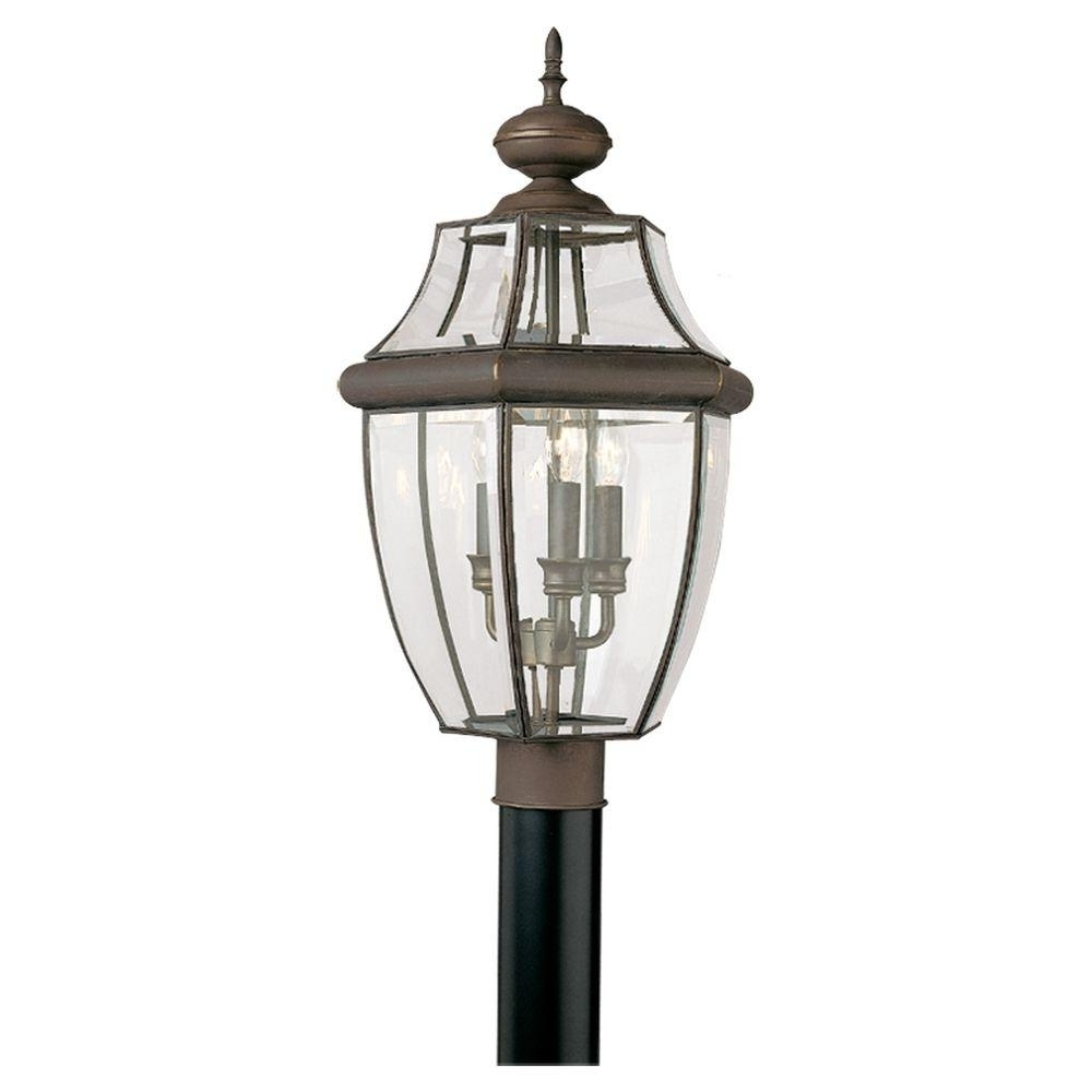 Sea Gull Lighting Lancaster 3 Light Outdoor Antique Bronze Post Top With Regard To Popular Outdoor Lanterns On Post (Gallery 18 of 20)