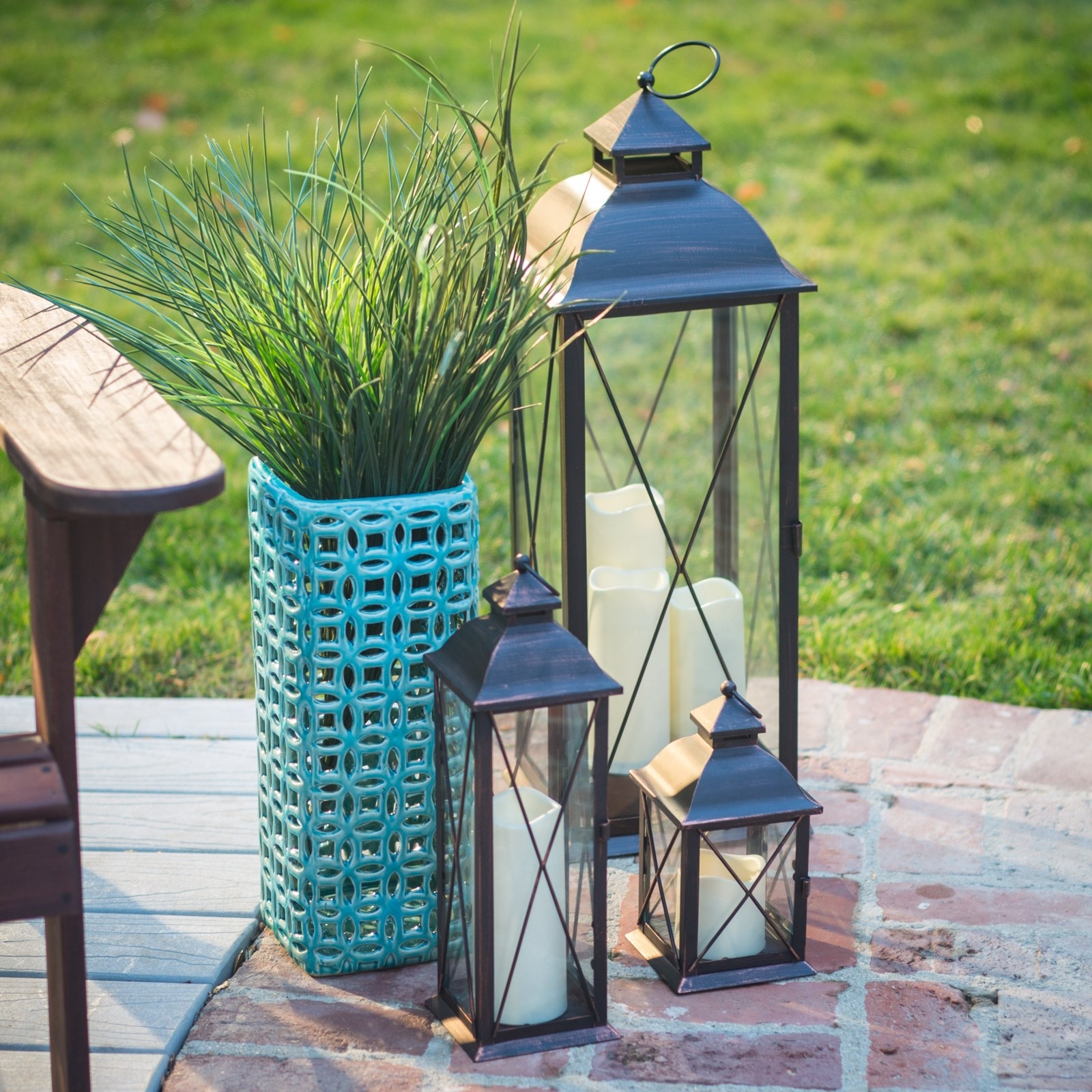 Set Of 3 Outdoor Lanterns Pertaining To Recent Smart Design Metal Lanterns With Led Candles – Set Of 3 – Walmart (View 13 of 20)