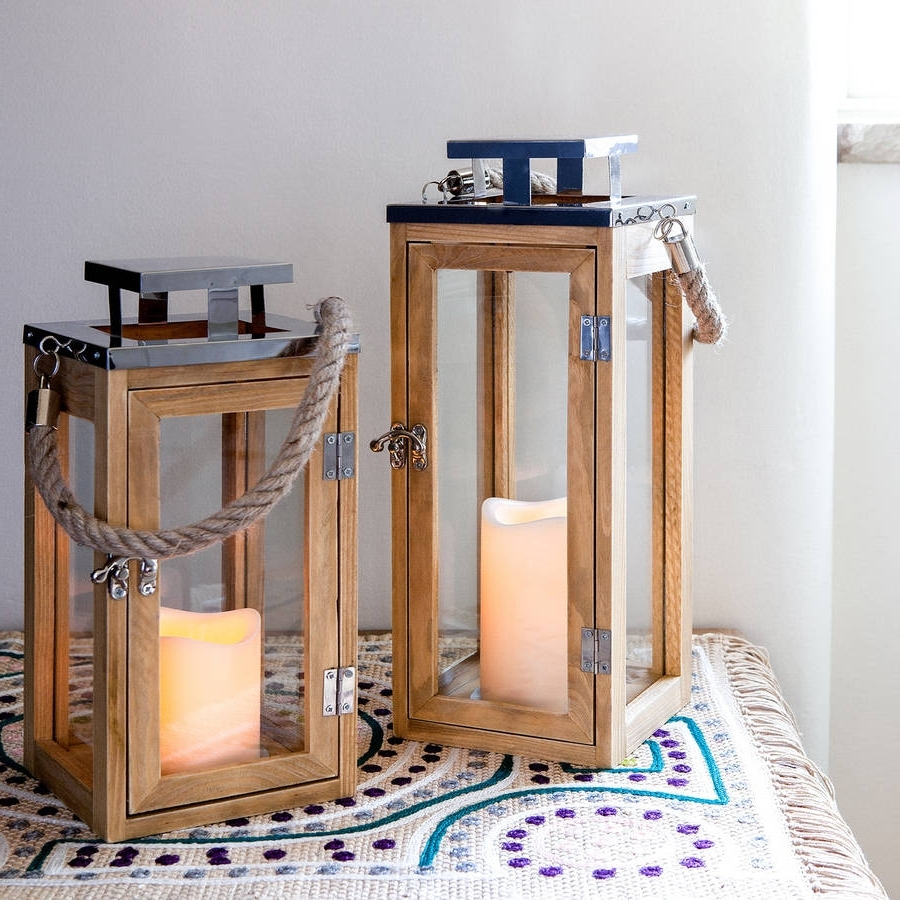 Set Of Two Salcombe Wooden Candle Lanternslights4Fun Pertaining To Most Up To Date Outdoor Wood Lanterns (View 18 of 20)