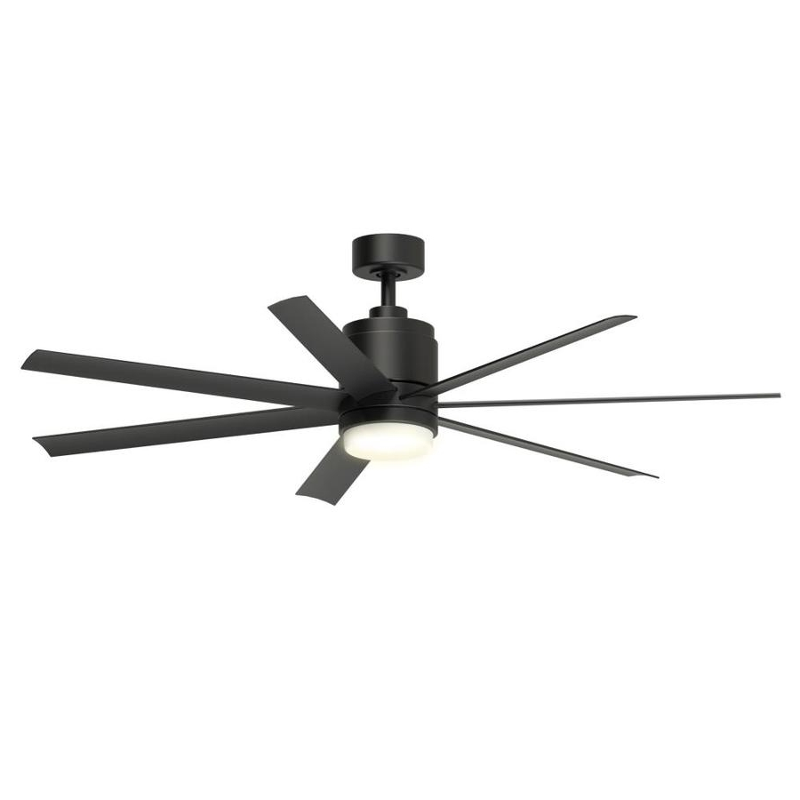 Shop Fanimation Studio Collection Blitz 56 In Black Led Indoor Throughout Most Recently Released Black Outdoor Ceiling Fans With Light (View 6 of 20)