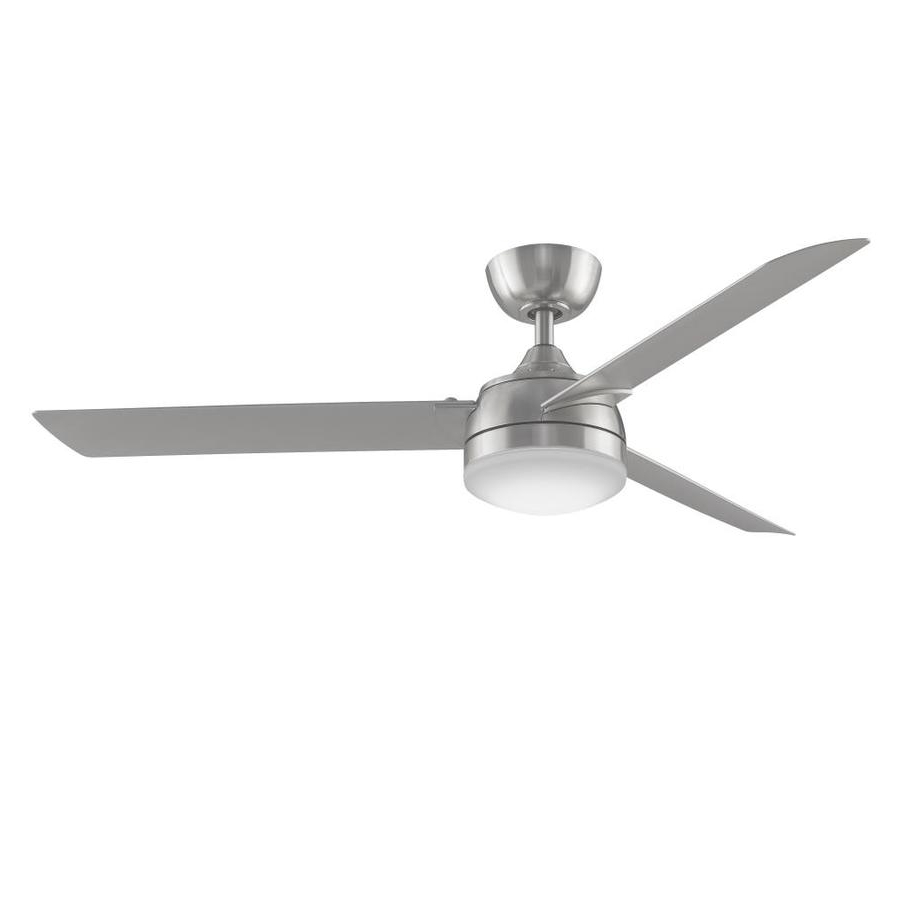 Shop Fanimation Xeno 56 In Brushed Nickel Led Indoor/outdoor Downrod With Fashionable Energy Star Outdoor Ceiling Fans With Light (Gallery 14 of 20)