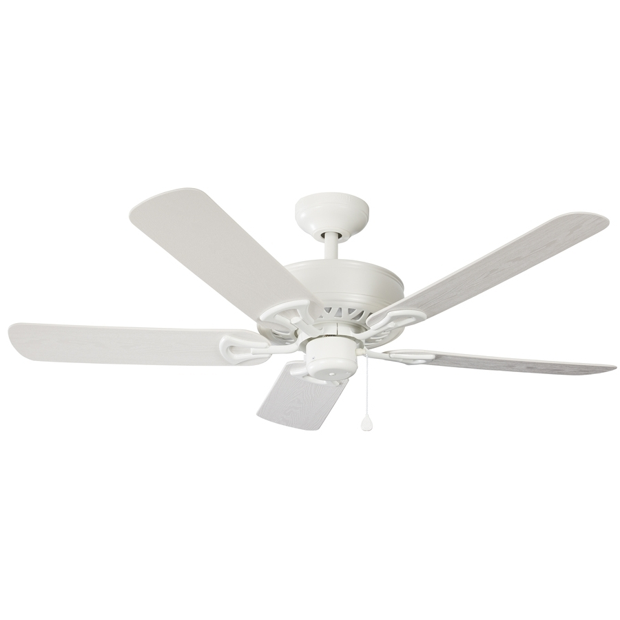 Shop Harbor Breeze Calera 52 In White Indoor/outdoor Downrod Mount With Regard To Most Popular Harbor Breeze Outdoor Ceiling Fans (Gallery 4 of 20)