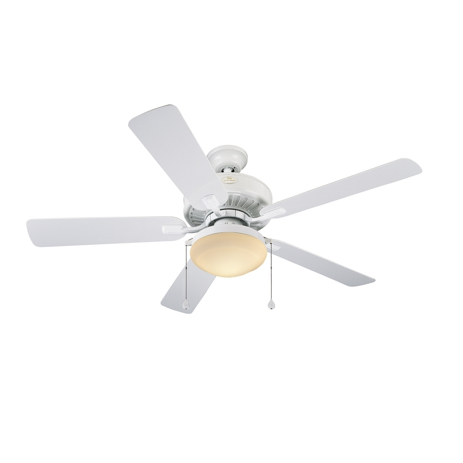 Shop Harbor Breeze Cape Coast 52 In White Downrod Mount Indoor For Best And Newest White Outdoor Ceiling Fans With Lights (View 13 of 20)