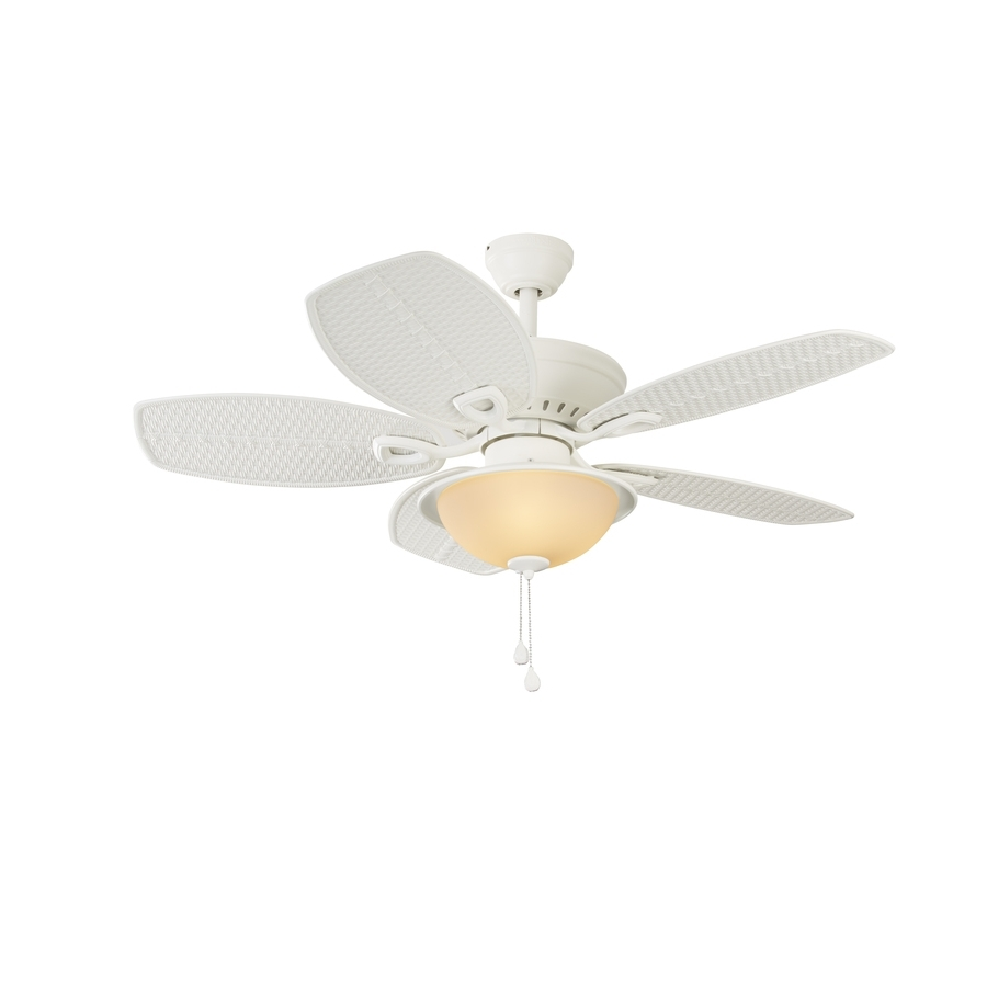 Shop Harbor Breeze Cedar Shoals 44 In White Indoor/outdoor Ceiling With Most Current White Outdoor Ceiling Fans With Lights (View 16 of 20)