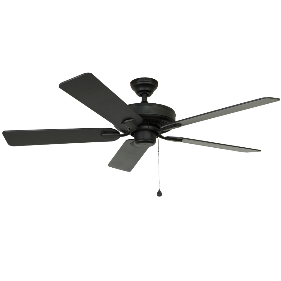 Shop Harbor Breeze Classic 52 In Matte Black Downrod Mount Indoor Within Preferred Black Outdoor Ceiling Fans (View 16 of 20)