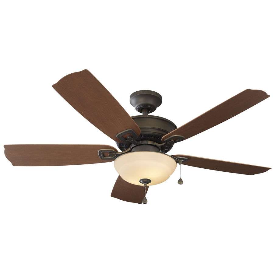 Shop Harbor Breeze Echolake 52 In Oil Rubbed Bronze Indoor/outdoor Pertaining To Latest Outdoor Ceiling Fans With Lights (View 18 of 20)