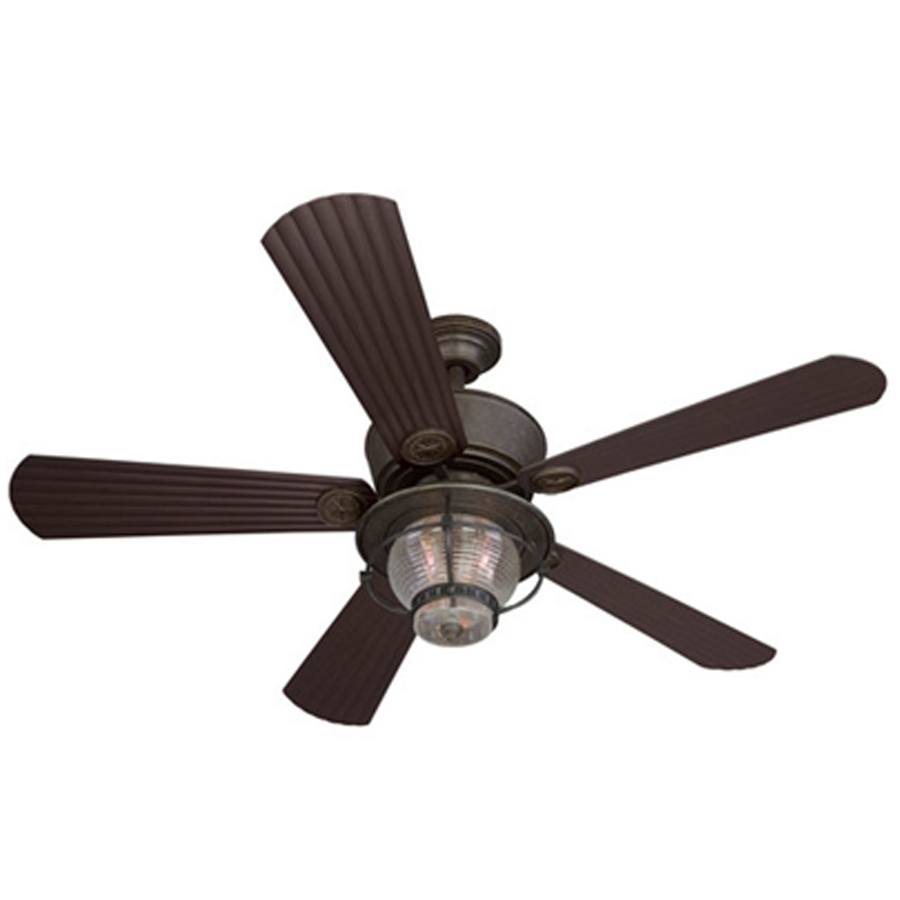 Shop Harbor Breeze Merrimack 52 In Antique Bronze Indoor/outdoor Regarding Favorite Flush Mount Outdoor Ceiling Fans (View 16 of 20)