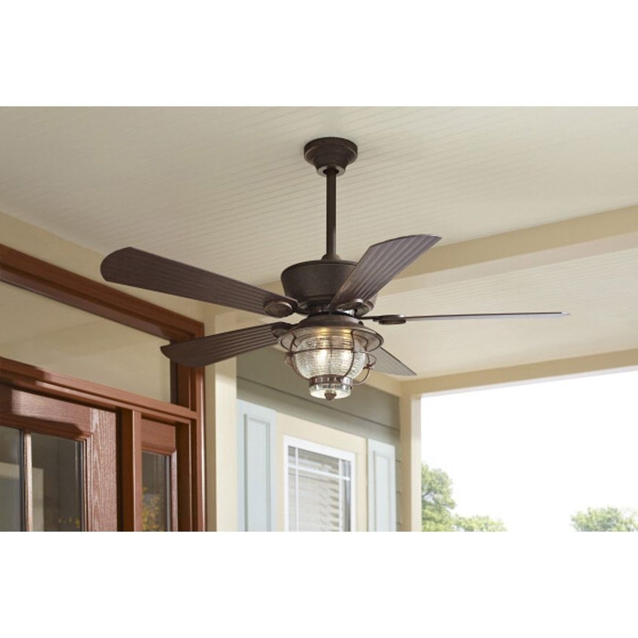 Shop Harbor Breeze Merrimack 52 In Antique Bronze Outdoor Downrod Or In Most Popular Outdoor Rated Ceiling Fans With Lights (View 13 of 20)