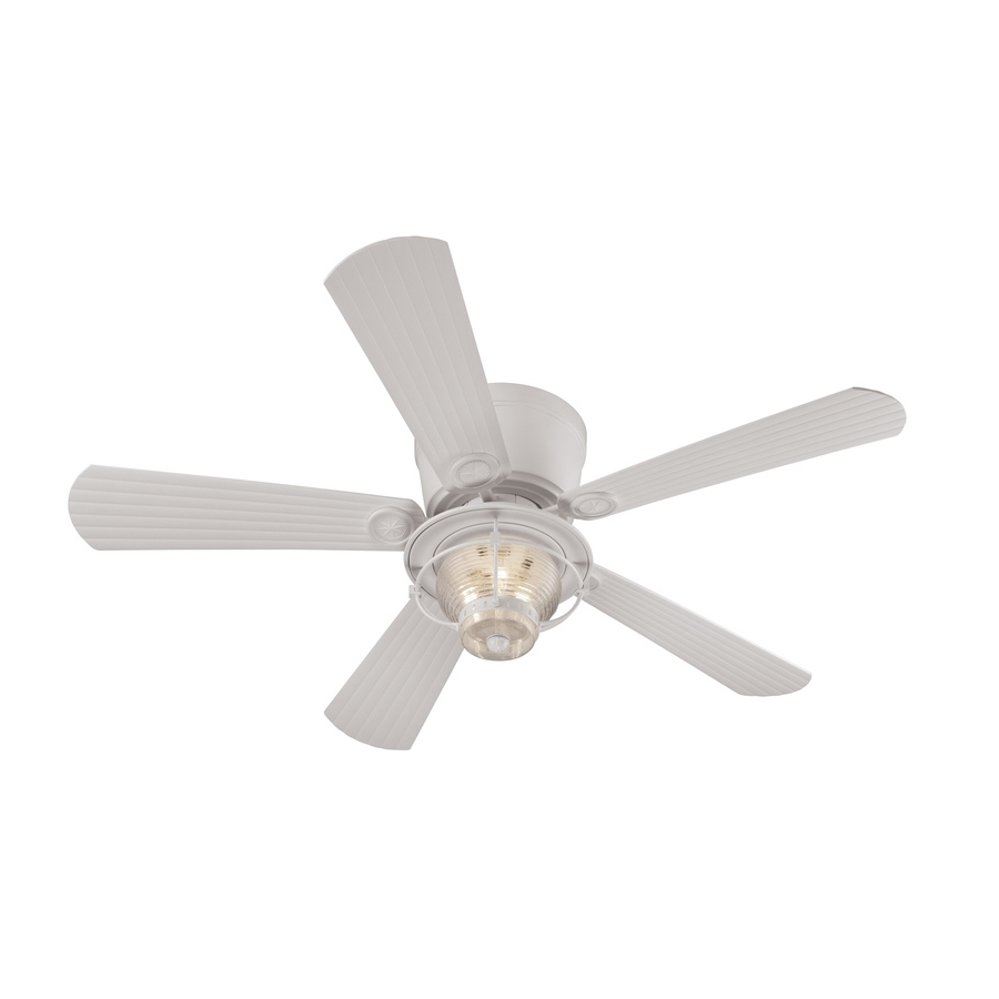 Shop Harbor Breeze Merrimack 52 In White Indoor/outdoor Flush Mount Pertaining To Well Known Outdoor Ceiling Fans Flush Mount With Light (View 18 of 20)