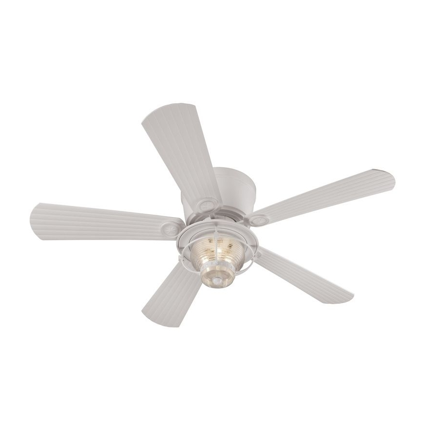 Shop Harbor Breeze Merrimack 52 In White Outdoor Flush Mount Ceiling Pertaining To Well Liked White Outdoor Ceiling Fans (View 10 of 20)