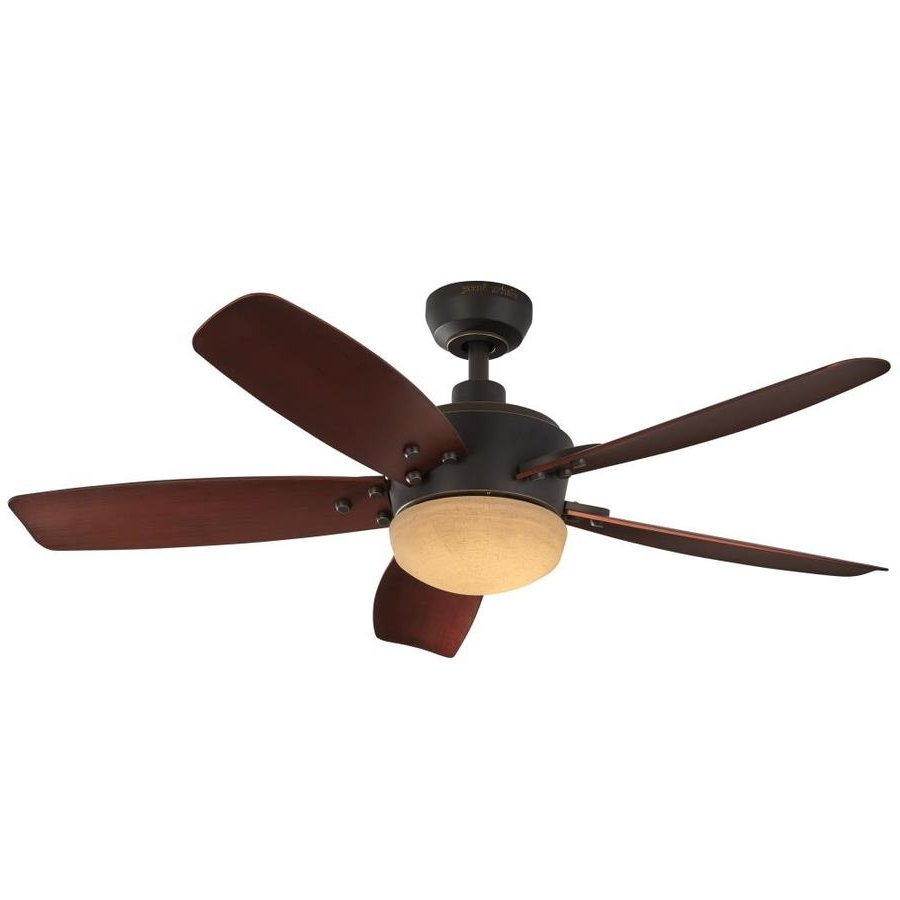 Shop Harbor Breeze Saratoga 48 In Oil Rubbed Bronze Led Indoor Intended For Favorite 48 Outdoor Ceiling Fans With Light Kit (View 16 of 20)