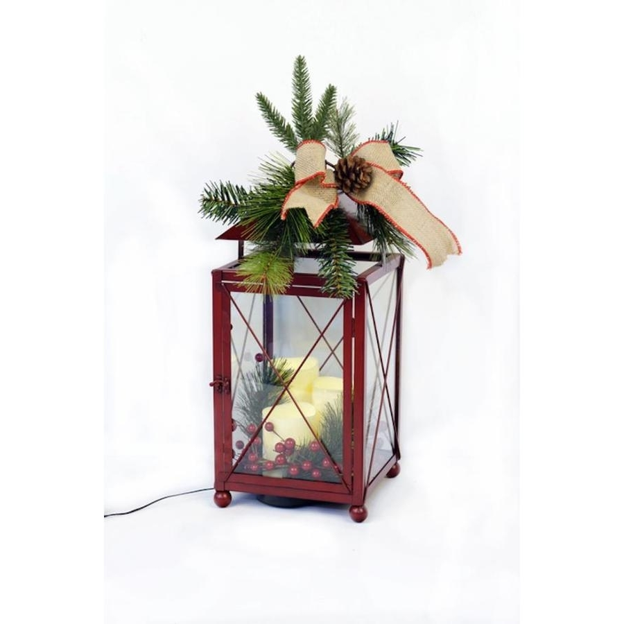 Shop Holiday 8.25 In X 20 In Red Metal Led Light Outdoor Decorative Intended For Famous Red Outdoor Table Lanterns (Gallery 6 of 20)