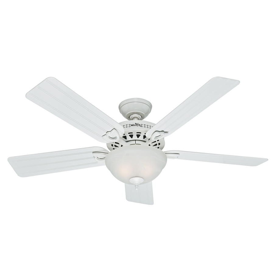 Shop Hunter Beachcomber 52 In White Indoor/outdoor Ceiling Fan With Pertaining To Well Known White Outdoor Ceiling Fans With Lights (View 2 of 20)