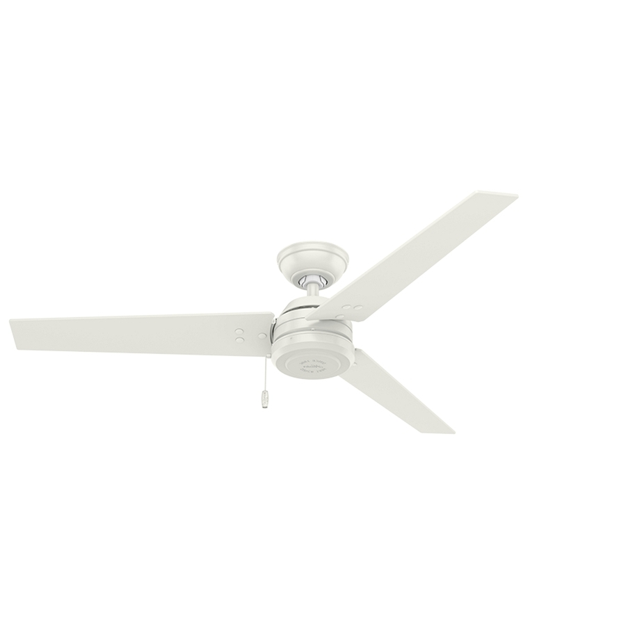 Shop Hunter Cassius 52 In White Indoor/outdoor Ceiling Fan (3 Blade Inside Most Popular Outdoor Ceiling Fans With Long Downrod (View 7 of 20)