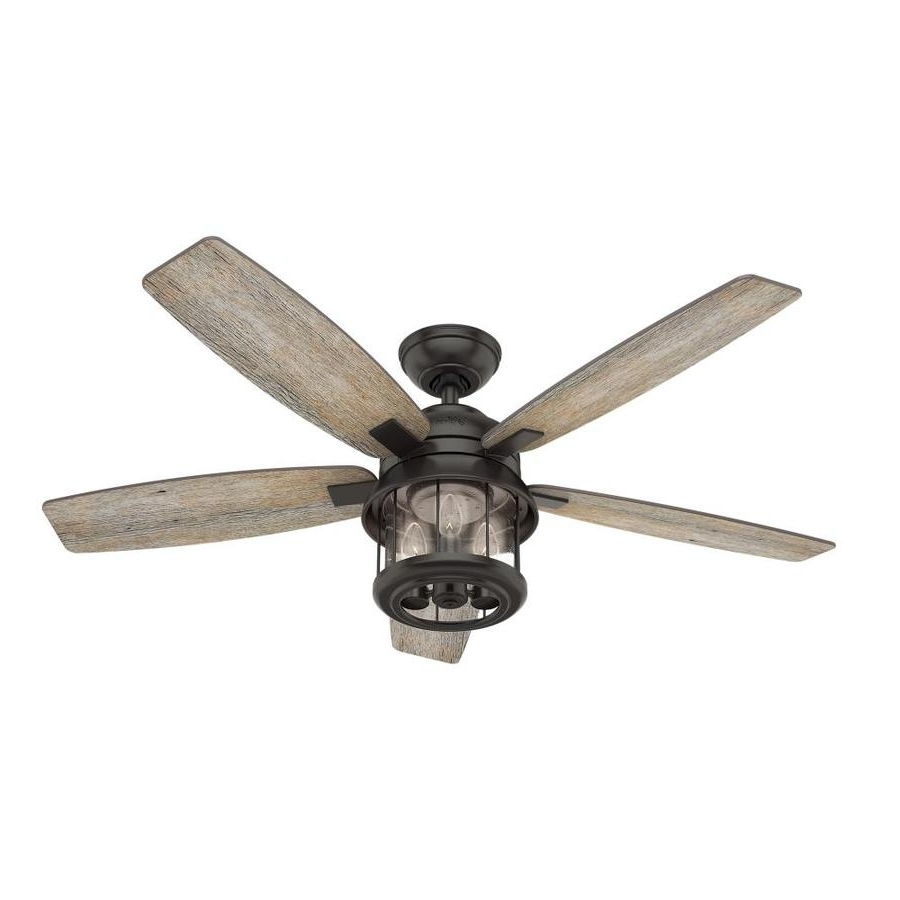 Shop Hunter Coral Bay 52 In Matte Black Indoor/outdoor Ceiling Fan With Popular Indoor Outdoor Ceiling Fans With Lights And Remote (View 4 of 20)