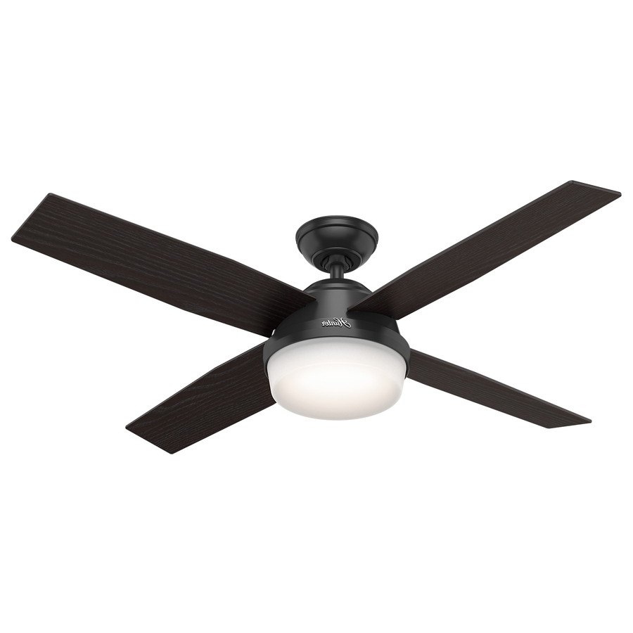 Shop Hunter Dempsey 52 In Matte Black Indoor/outdoor Ceiling Fan Inside Preferred Black Outdoor Ceiling Fans (View 6 of 20)