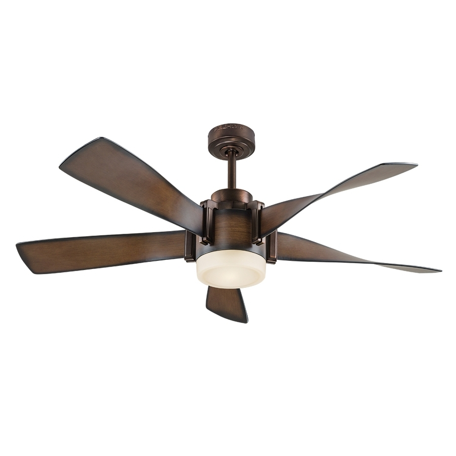 Shop Kichler 52 In Mediterranean Walnut With Bronze Accents Led With Well Liked Outdoor Ceiling Fans With Led Globe (View 18 of 20)