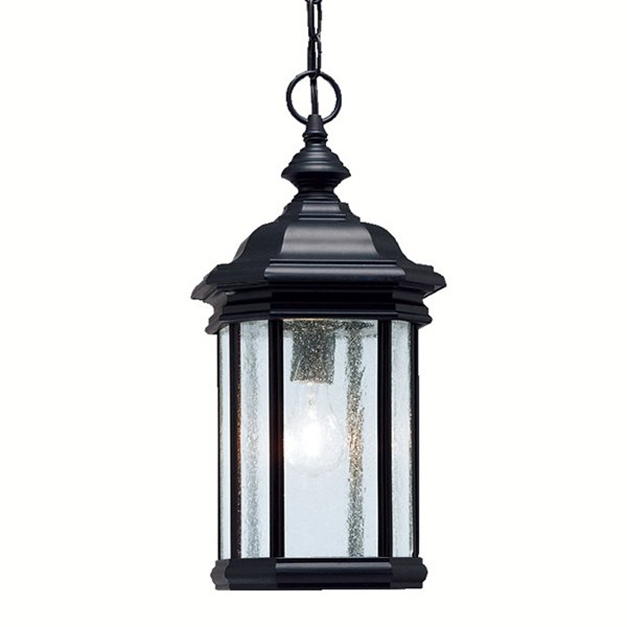 Shop Kichler Kirkwood Black Clear Glass Lantern Incandescent Outdoor Intended For Well Known Outdoor Pendant Lanterns (View 18 of 20)