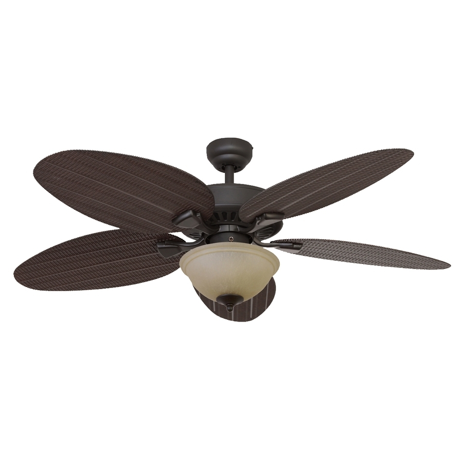 Shop Palm Coast Summerland 52 In Bronze Indoor/outdoor Ceiling Fan Pertaining To Recent Outdoor Ceiling Fans With Palm Blades (View 3 of 20)