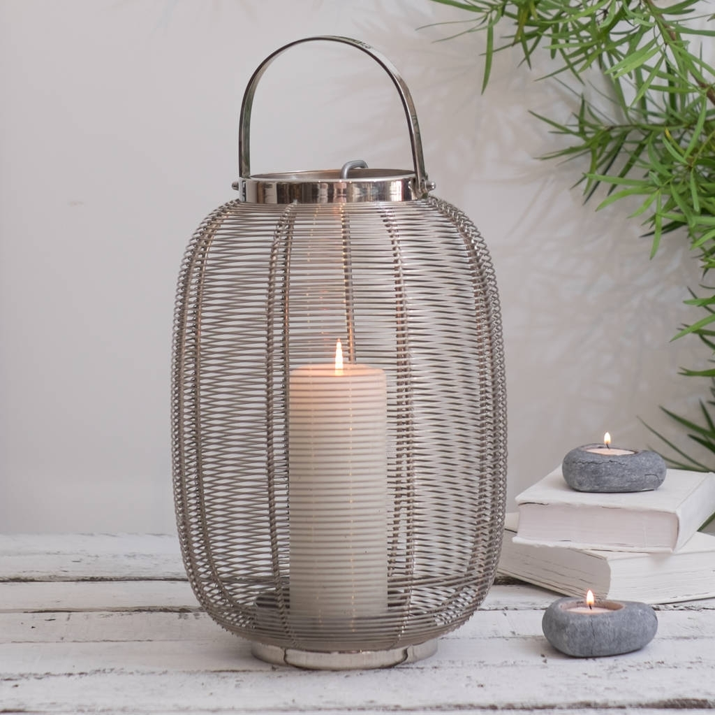 Silver Hurricane Lantern Indoor And Outdoorza Za Homes Intended For Trendy Outdoor Storm Lanterns (View 17 of 20)