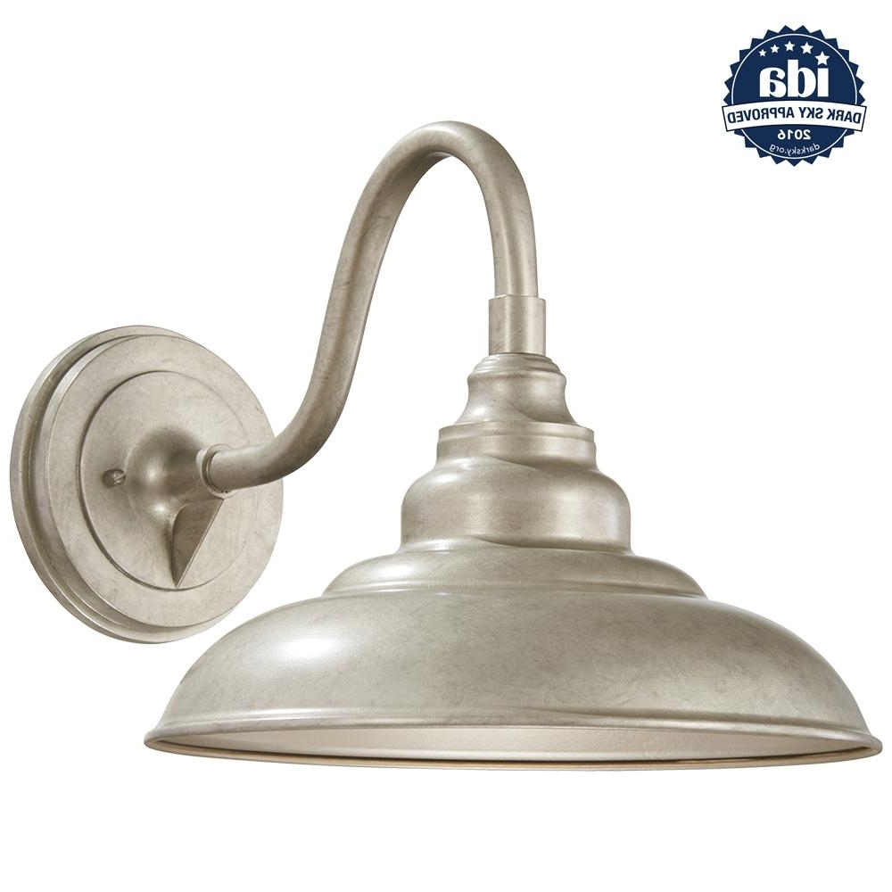 Silver Outdoor Lanterns Throughout Current Home Decorators Collection 1 Light Champagne Silver Outdoor Wall (View 12 of 20)