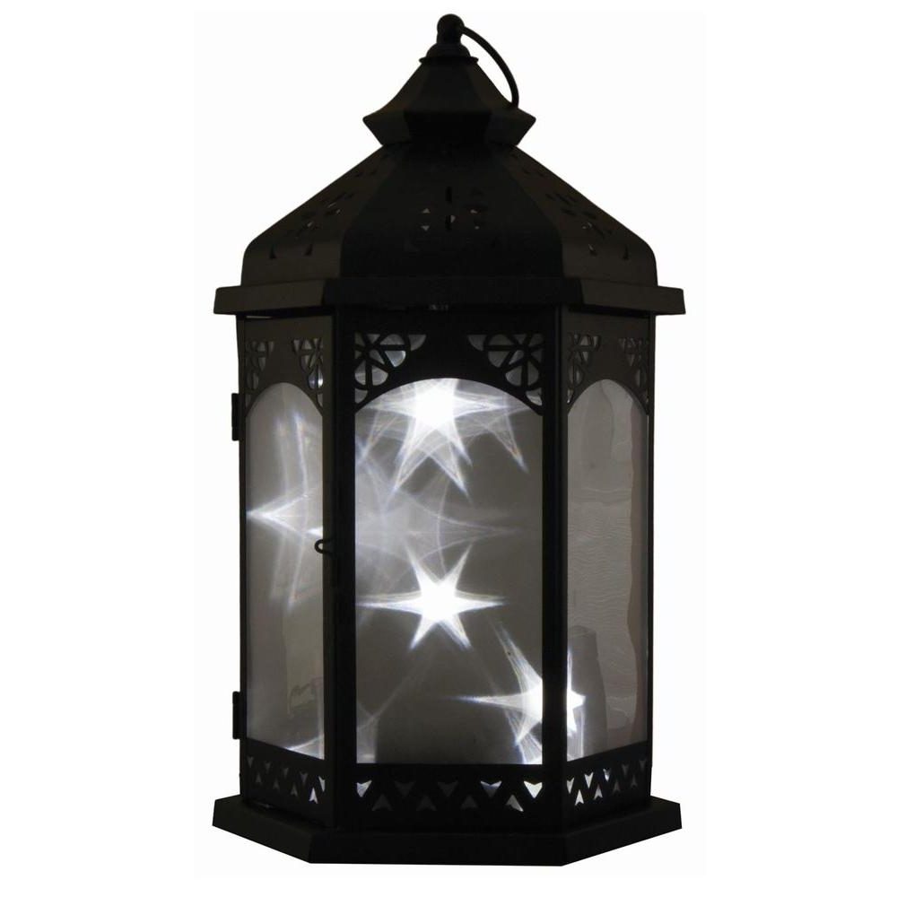 Smart Design Baltimore Star 16 In. Black Integrated Led Lantern With Inside Most Up To Date Outdoor Lanterns On Stands (Gallery 9 of 20)