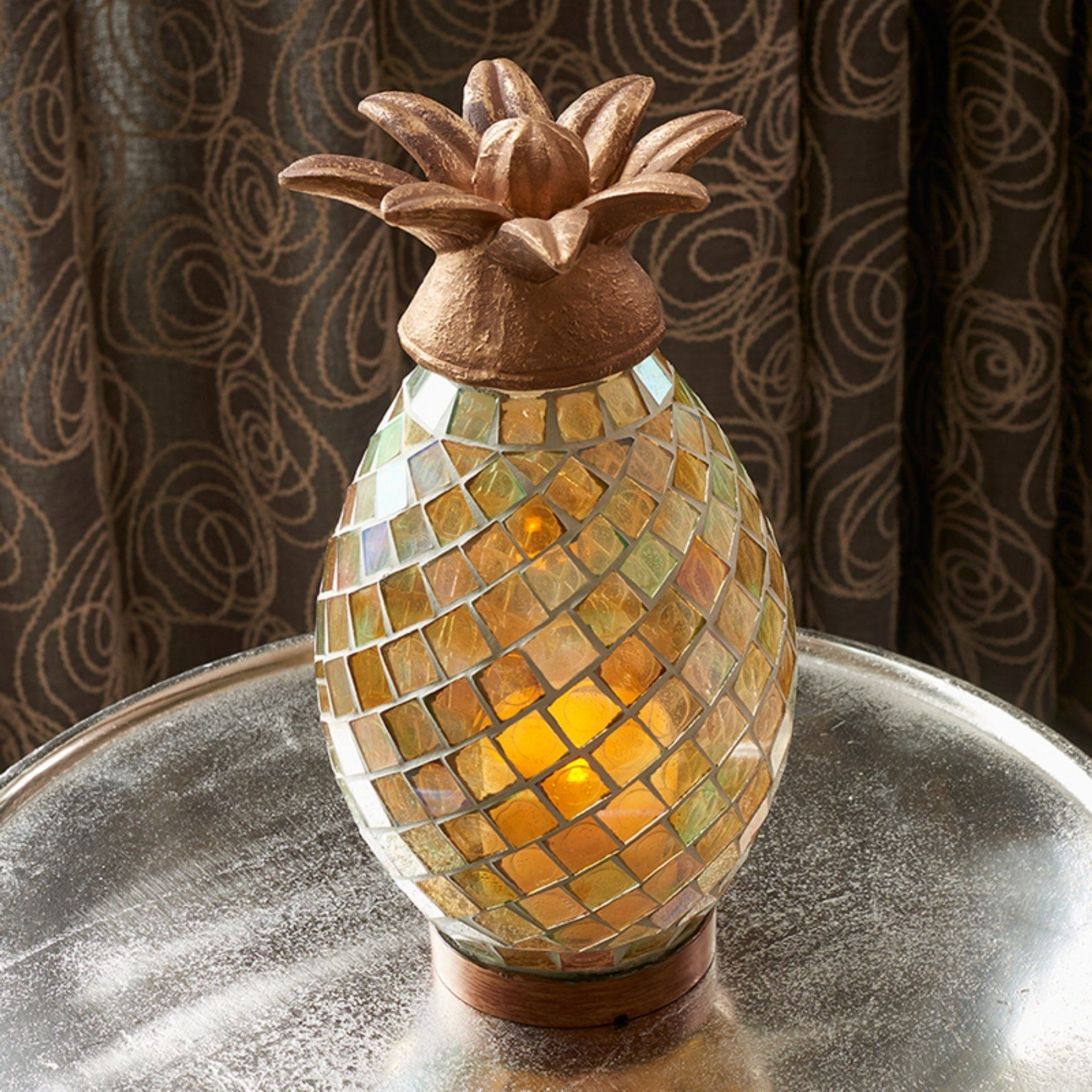 Smart Living Ananas Glass Mosaic Pineapple Indoor/outdoor Led Candle Regarding Famous Outdoor Pineapple Lanterns (View 8 of 20)