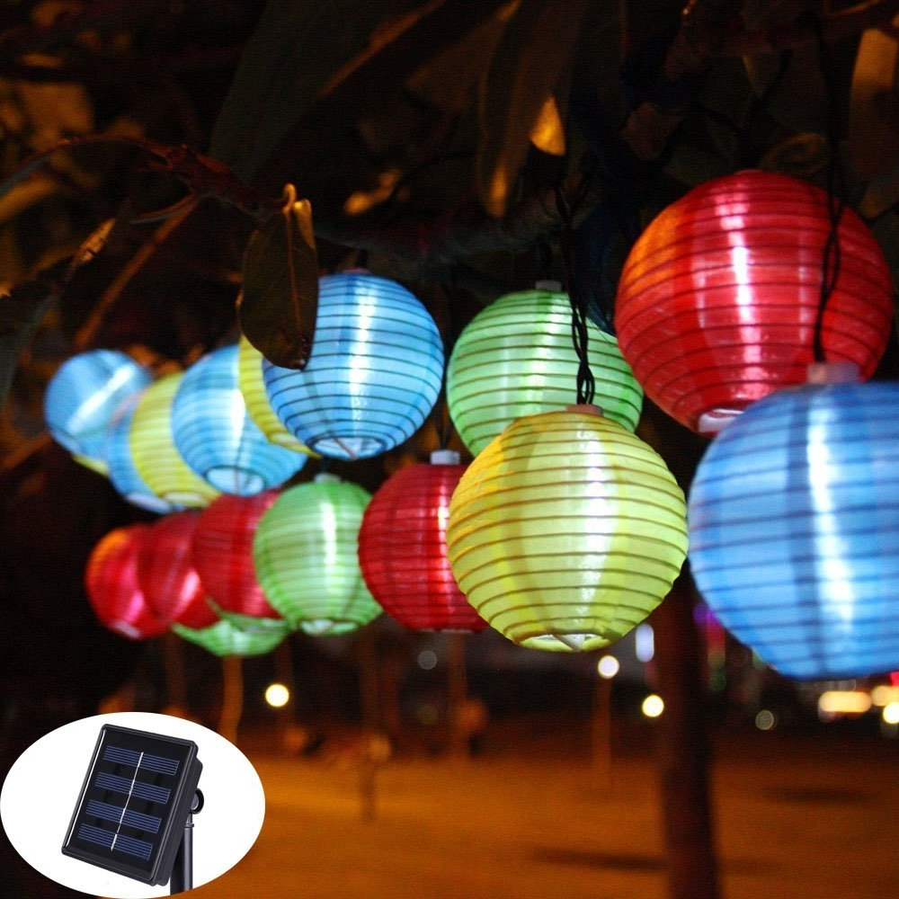 Solar String Lights Lantern Ball 20/30 Led Solar Outdoor Lighting With Regard To Most Popular Outdoor Globe Lanterns (Gallery 3 of 20)