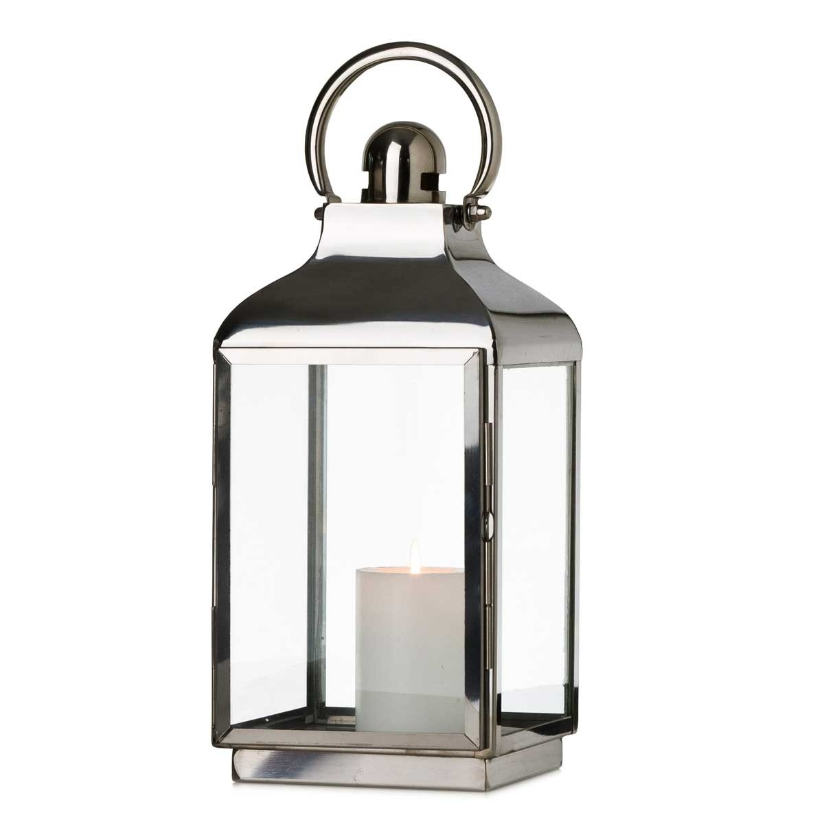 Square Base Lantern – Silver Within Newest Silver Outdoor Lanterns (View 14 of 20)