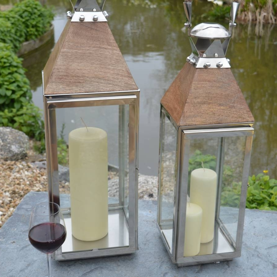 Stainless Steel And Wood Garden Lanternza Za Homes With Newest Tall Outdoor Lanterns (View 19 of 20)