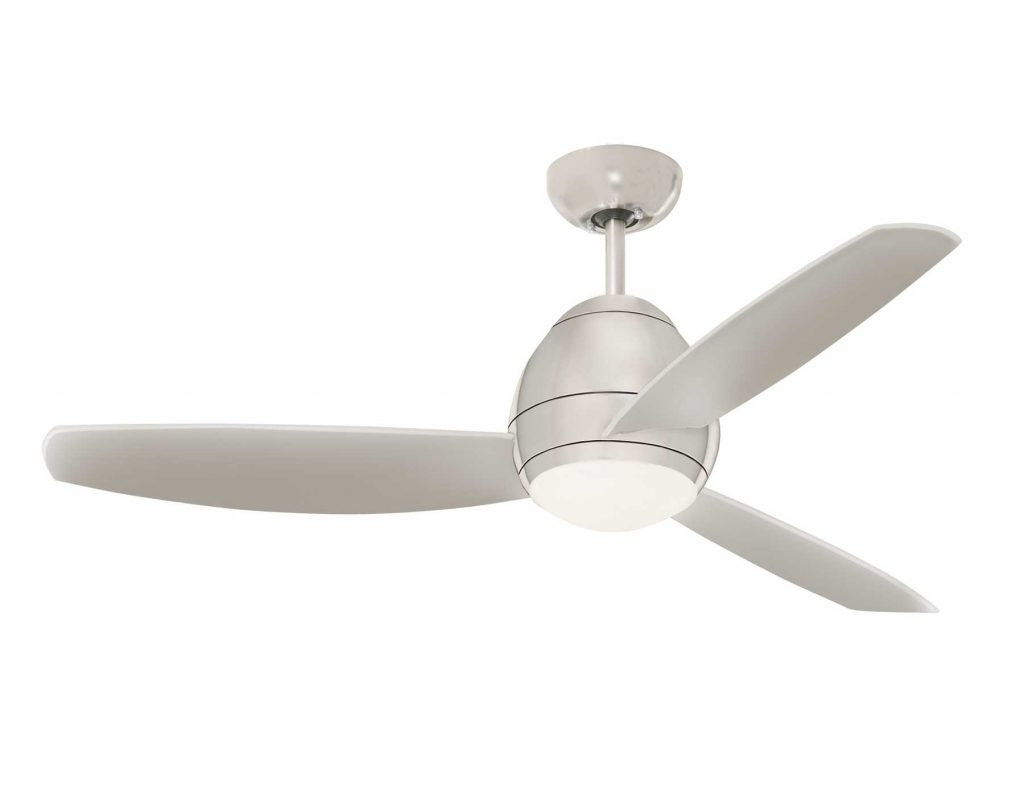 Stainless Steel Outdoor Ceiling Fans Pertaining To Most Current Ceiling Light Brushed Steel Avruc Outdoor Ceiling Fan W/ Light With (View 2 of 20)