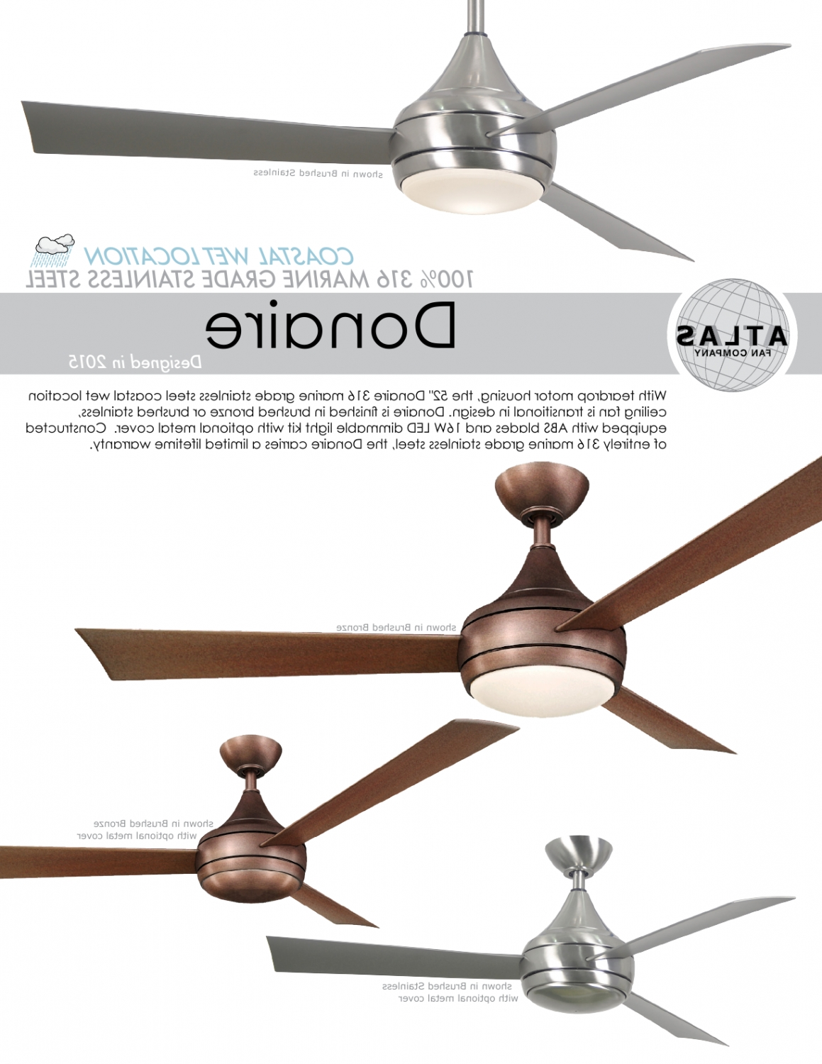 Stainless Steel Outdoor Ceiling Fans With Light In Most Recently Released Donaire Ceiling Fan For Balcony Terrace Verandah Outdoor Spaces (View 18 of 20)