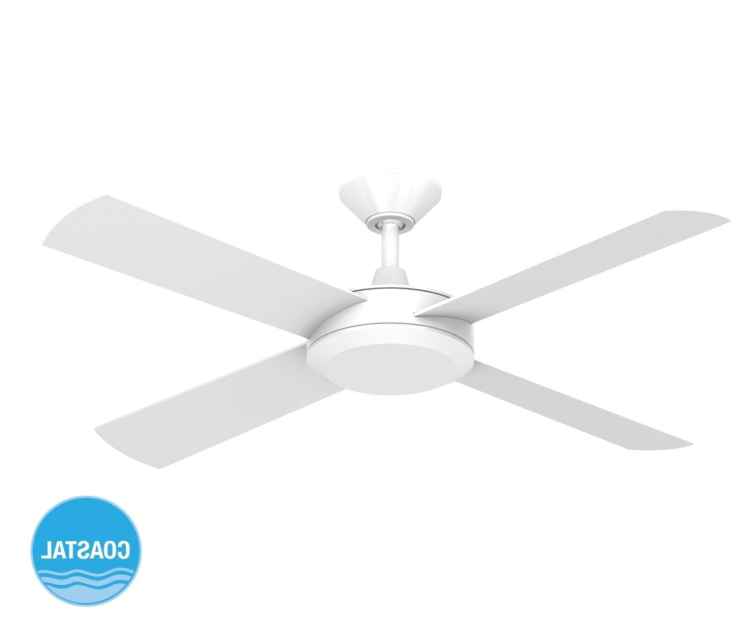 Sunshine Coast Outdoor Ceiling Fans With Popular Concept Ii 2014 132Cm Timber Blade Fan In White (View 17 of 20)